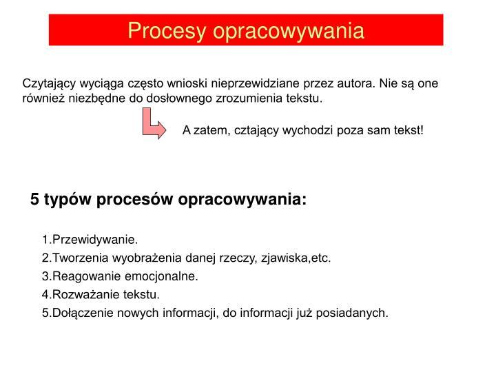 Procesy opracowywania