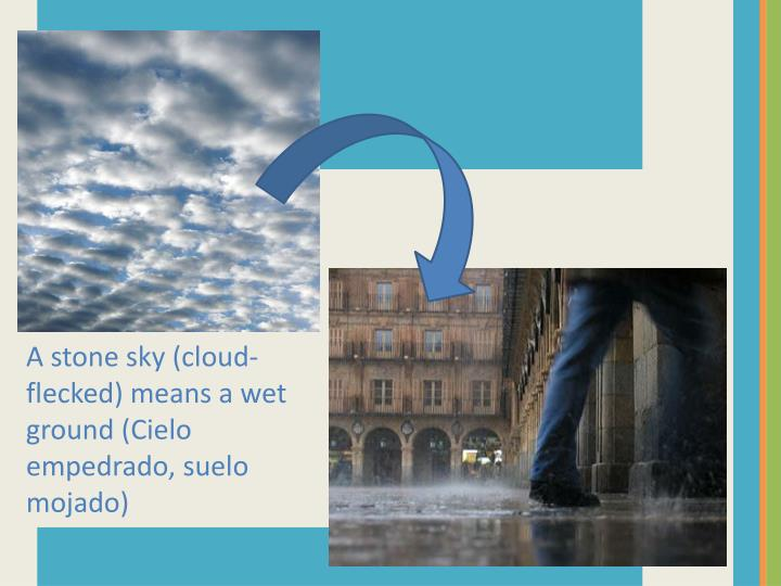 A stone sky (cloud-flecked) means a wet ground (
