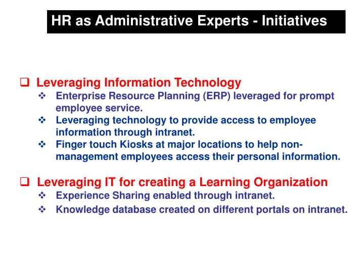 HR as Administrative Experts - Initiatives