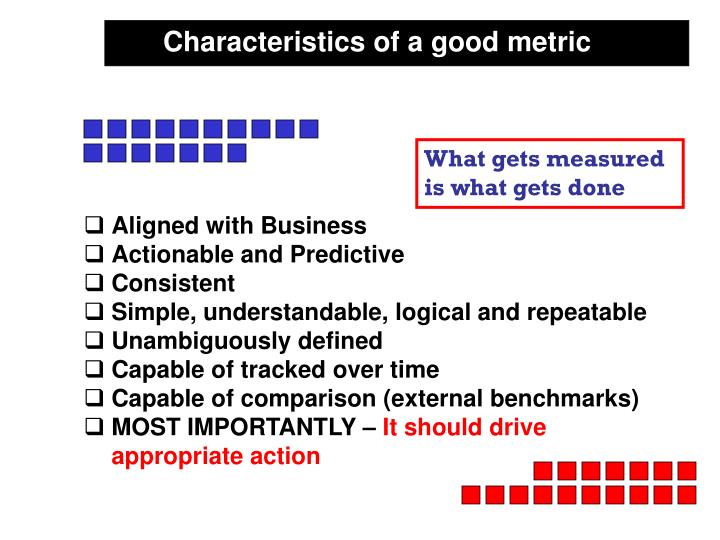 Characteristics of a good metric