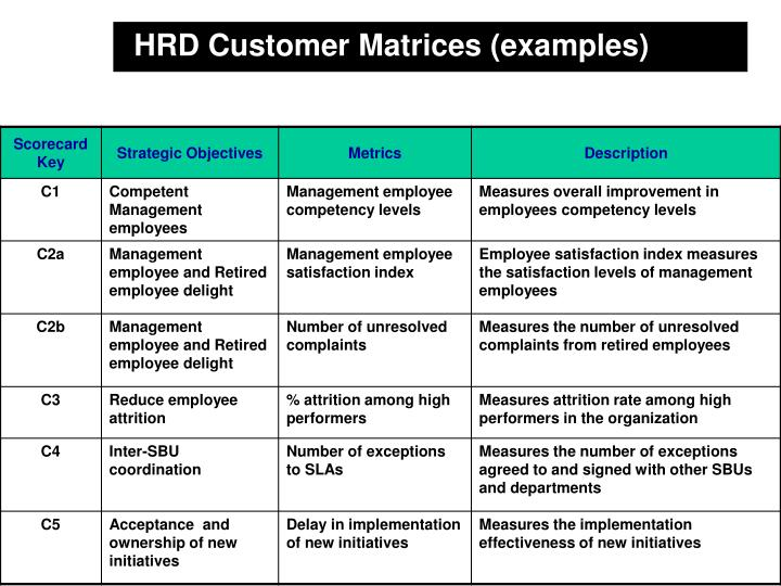 HRD Customer Matrices (examples)