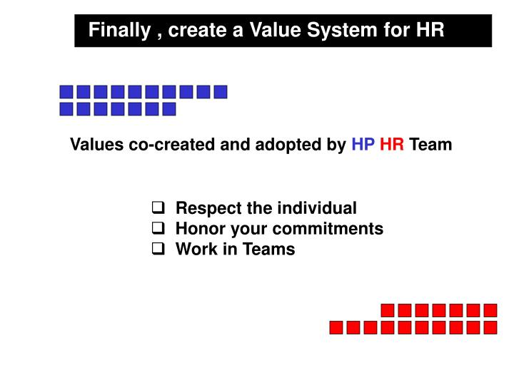 Finally , create a Value System for HR