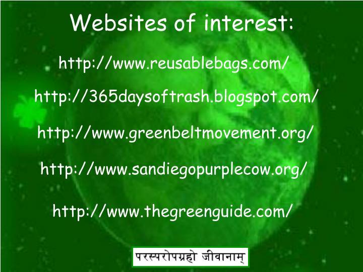 Websites of interest: