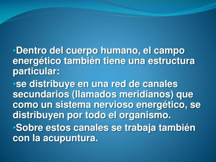 Dentro del cuerpo humano, el campo energético también tiene una estructura particular: