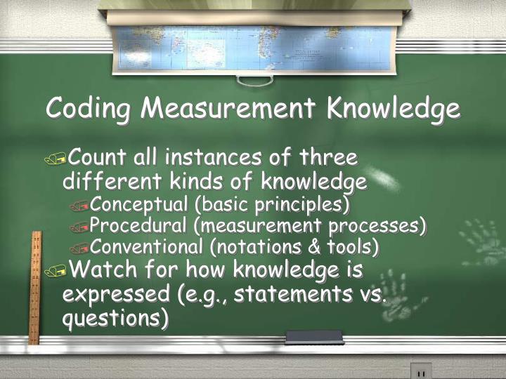 Coding Measurement Knowledge