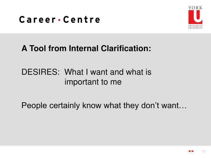 A Tool from Internal Clarification: