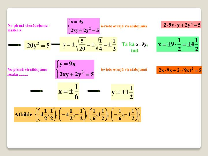 No pirmā vienādojuma izsaka x