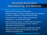 advanced automotive manufacturing and materials