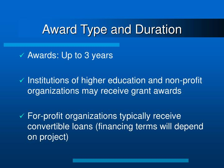 Award Type and Duration