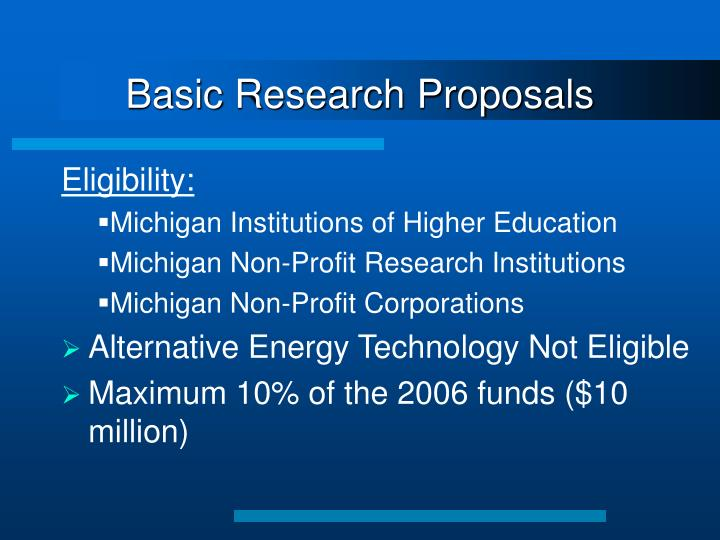Basic Research Proposals