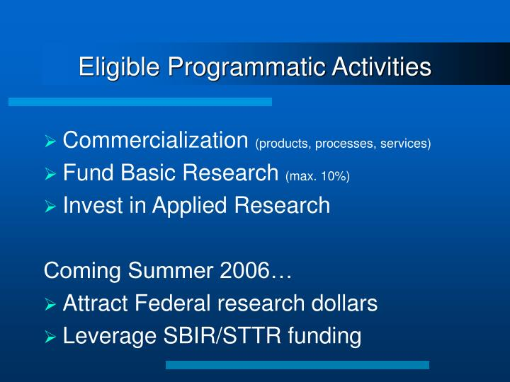 Eligible Programmatic Activities