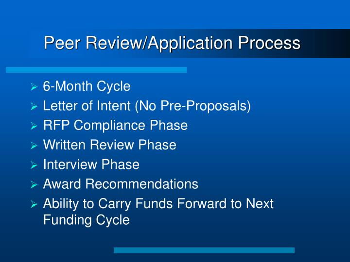 Peer Review/Application Process
