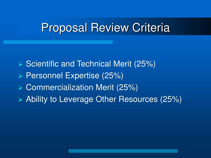 Proposal Review Criteria