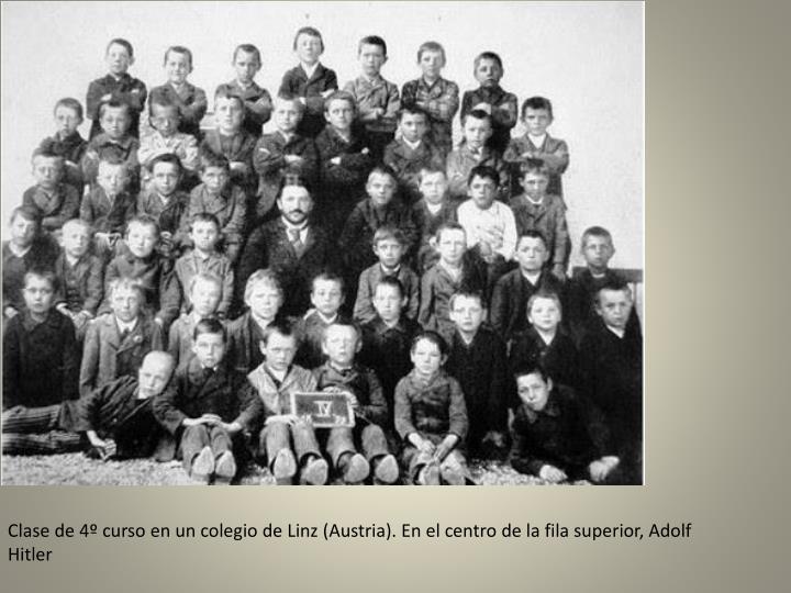 Clase de 4º curso en un colegio de Linz (Austria). En el centro de la fila superior, Adolf Hitler