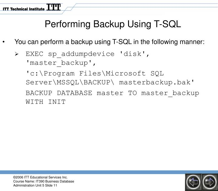 Performing Backup Using T-SQL