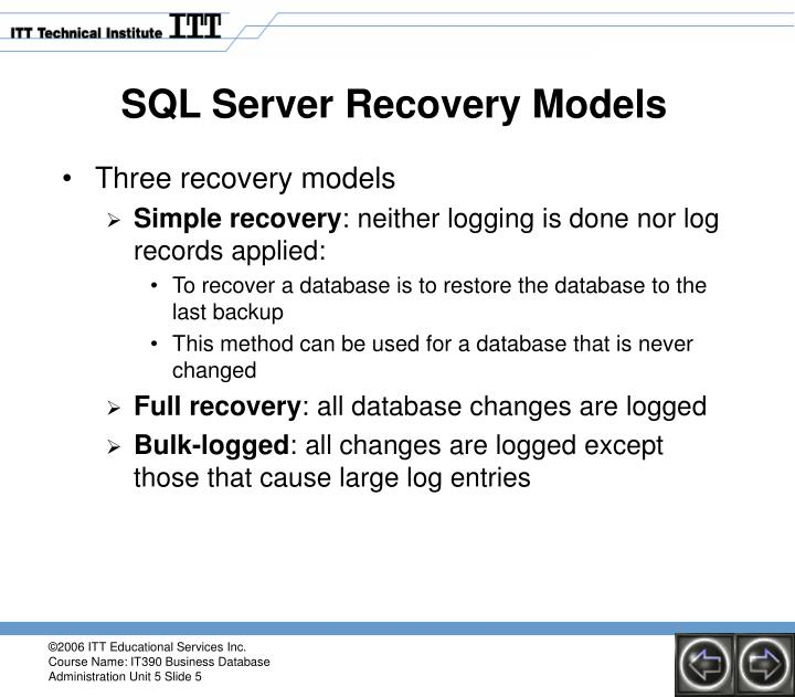 SQL Server Recovery Models