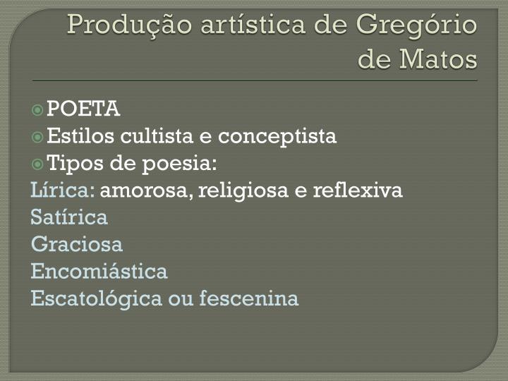 Produção artística de Gregório de Matos