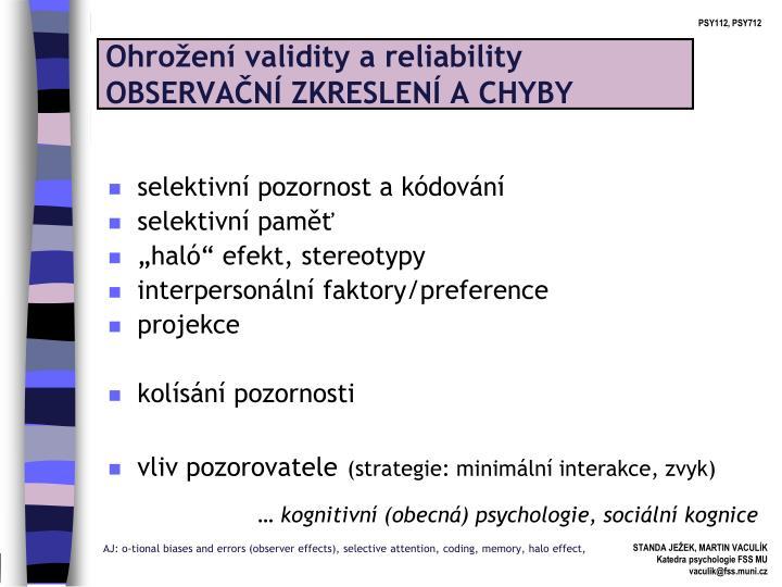 Ohrožení validity a reliability