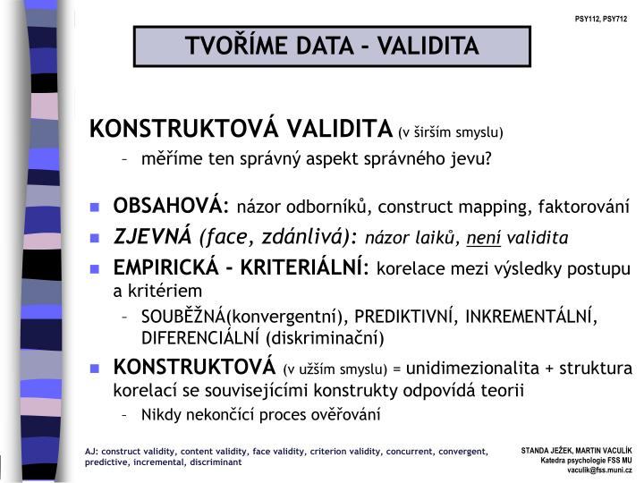 TVOŘÍME DATA - VALIDITA