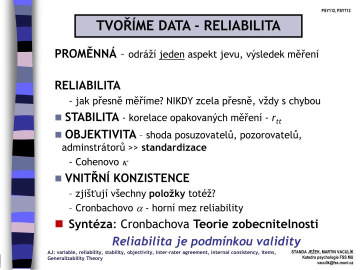 TVOŘÍME DATA - RELIABILITA