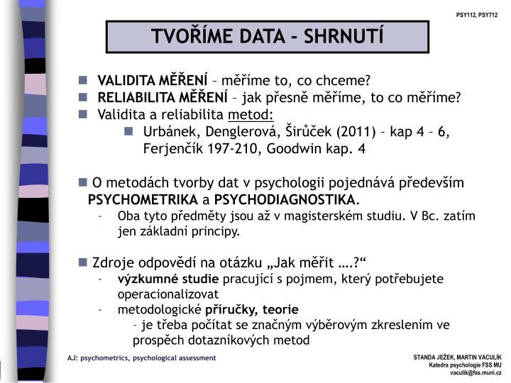 TVOŘÍME DATA - SHRNUTÍ