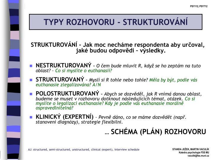 TYPY ROZHOVORU - STRUKTUROVÁNÍ
