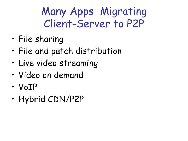 Many apps migrating client server to p2p