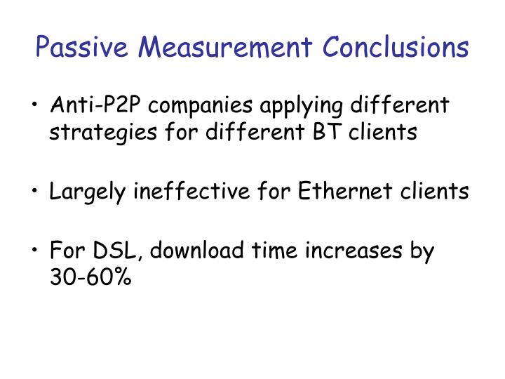 Passive Measurement Conclusions