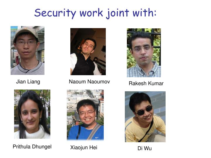 Security work joint with: