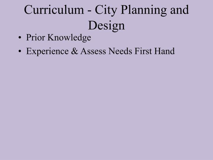Curriculum - City Planning and Design