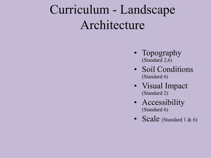 Curriculum - Landscape Architecture