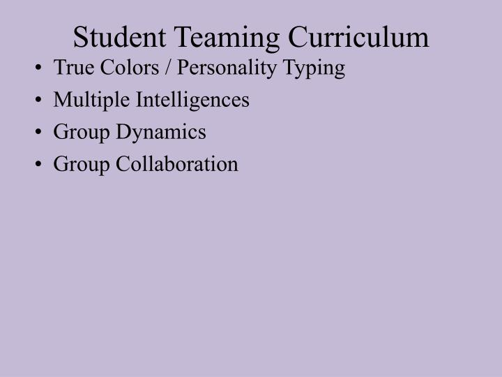 Student Teaming Curriculum