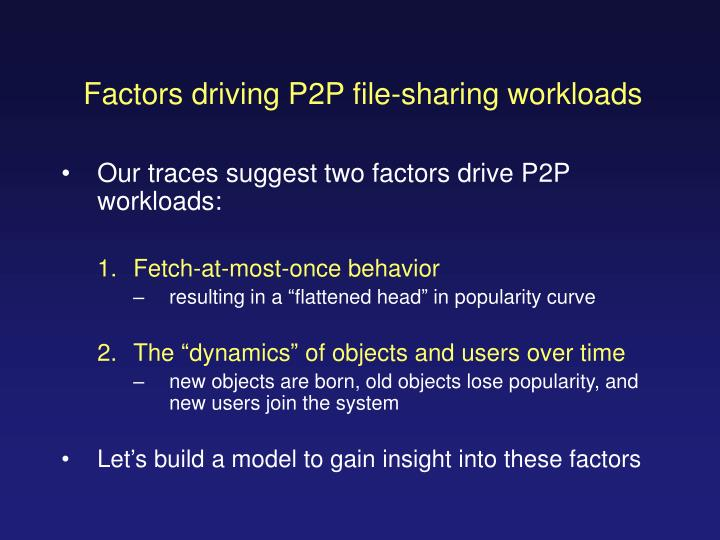 Factors driving P2P file-sharing workloads