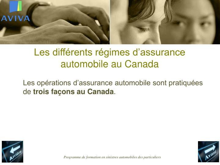 Les différents régimes d'assurance automobile au Canada