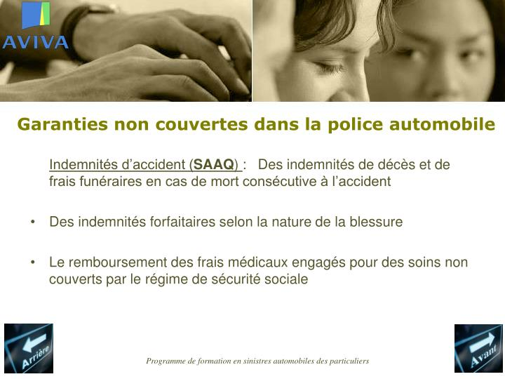 Garanties non couvertes dans la police automobile