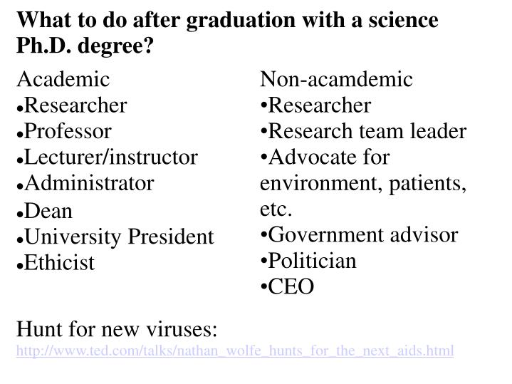 What to do after graduation with a science Ph.D. degree?