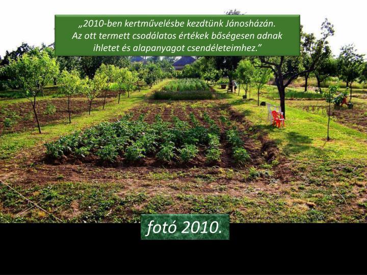 """""""2010-ben kertművelésbe kezdtünk Jánosházán."""