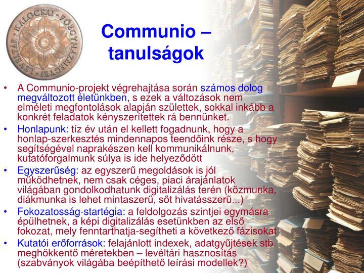 Communio – tanulságok