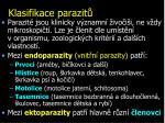 klasifikace parazit