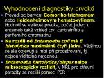 vyhodnocen diagnostiky prvok