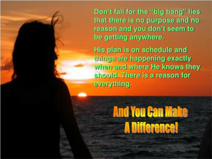 "Don't fall for the ""big bang"" lies that there is no purpose and no reason and you don't seem to be getting anywhere."