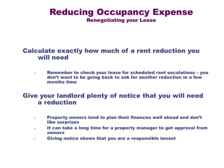 Reducing Occupancy Expense