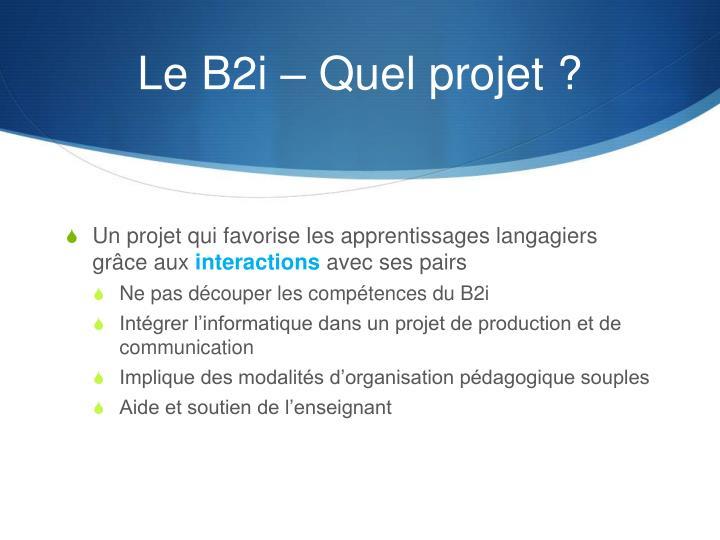 Le B2i – Quel projet ?