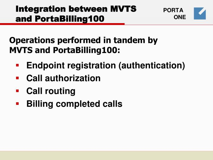 Integration between mvts and portabilling100