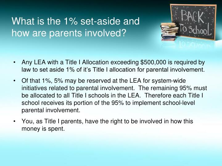 What is the 1% set-aside and how are parents involved?