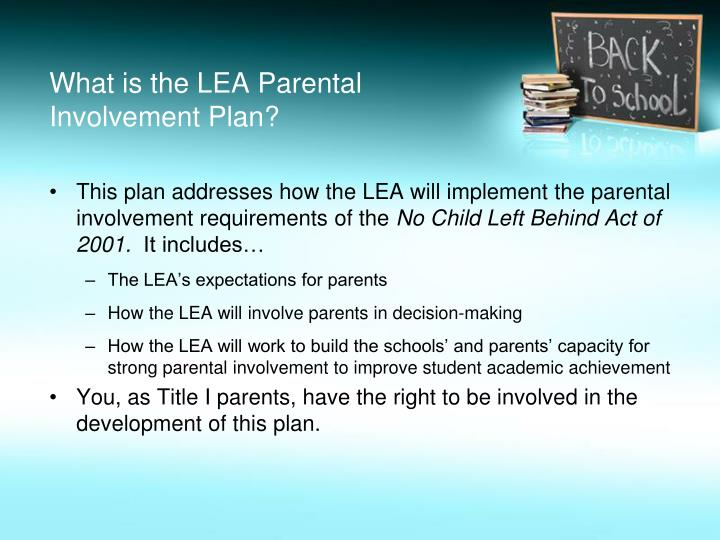 What is the LEA Parental Involvement Plan?