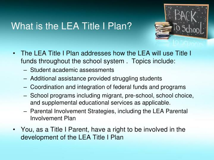 What is the LEA Title I Plan?