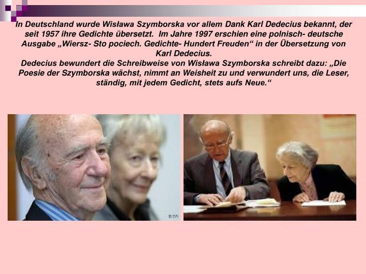 In Deutschland wurde Wisława Szymborska vor allem