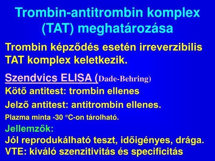 Trombin-antitrombin komplex (TAT) meghatározása