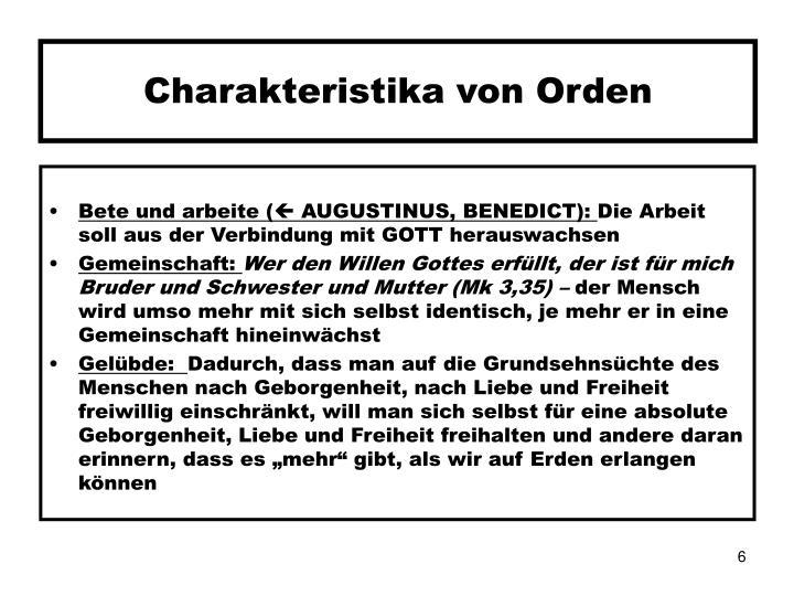 Charakteristika von Orden